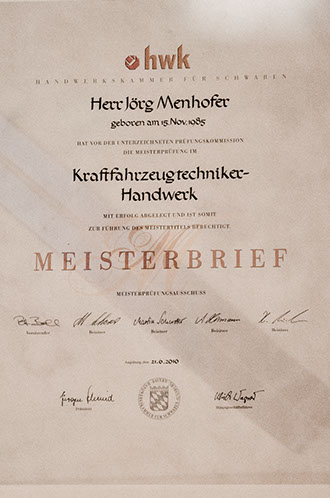Mechatronik Meisterbrief Jörg Menhofer