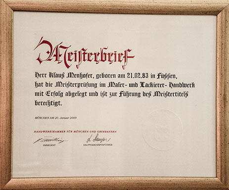 Meisterbrief Klaus Menhofer