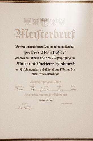 Meisterbrief Leo Menhofer