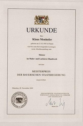 Meisterpreis Klaus Menhofer